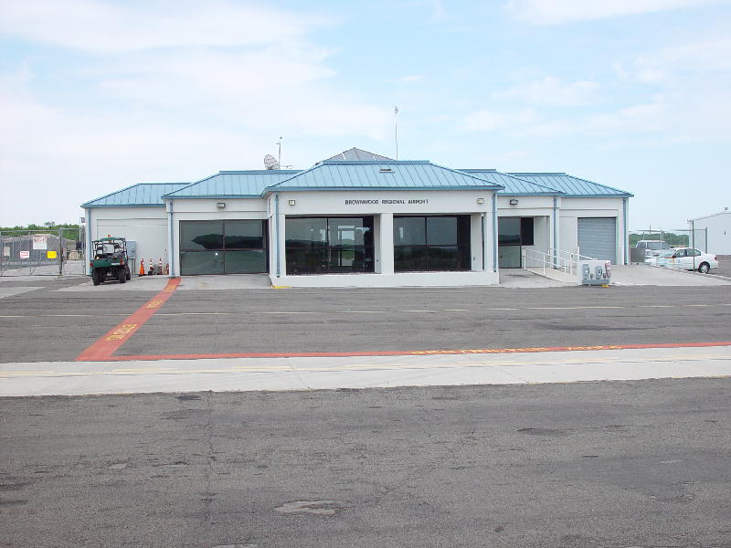 The outside of the Brownwood Regional Airport Terminal Building.